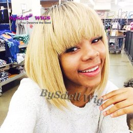 Wholesale Blonde Straight Bangs Wig - Natural cheap hair Dark rooted wig Perruque synthetic women short blonde high quality heat resistant curly Wigs With Bangs In Stock