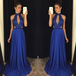 Wholesale Sexy Green Dinner Dresses - Royal Blue Evening Prom Gowns A Line Sleeveless Lace Backless Keyhole Formal Party Dinner Dresses 2017 High-Neck Celebrity Arabic