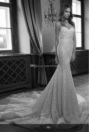 Wholesale Lace Boned Corset Wedding Dress - open back beaded lace corset wedding dresss 2017 berta bridal Spaghetti-strap sweetheart neckline boning in bodice trumpet skirt with train
