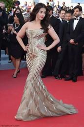 Wholesale Kim Kardashian Pictures Long Mermaid Dress - 2017 Evening Dress Yousef Aljasmi Labourjoisie Gold Beads Off Shoulder Mermaid Long Dress Kim Kardashian Zuhair Murad Prom Gowns