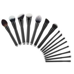 Wholesale Kit Brushes Set Aluminum - 15Pcs Makeup Brushes Set Wood Handle Aluminum White Nylon Black Foundation Powder Blush Blending Brush Cosmetic Beauty Tools Kit