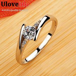 Wholesale cz fashion jewellery - Zirkon Ruby Crystal Fashion Silver Plated CZ Diamond Jewelry Wedding Rings Rose Gold Plated Charming Jewellery Women Bijoux J045