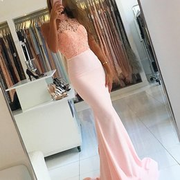 Wholesale Yellow High Collared Dress - Pink Evening Dress Long Halter Applique Lace Evening Party Dress With Long Train Satin Backless Formal Prom Party Gowns