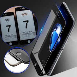 Wholesale Iphone Coloured Screen - Newest 2MM 9H 3D 4D Curved Tempered Glass Full Cover Screen Protector For iPhone 6S 7 Plus With Retail Box 5 Colours