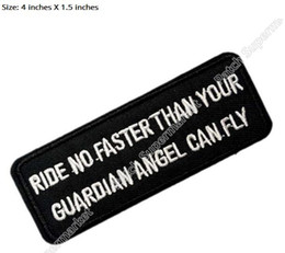 "Wholesale Funny Patches - 4"" Ride No Faster Funny Embroidered Quality Biker Vest Patch IRON ON  SEW ON Badge Rock Punk Badge Wholesale Free shipping"