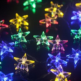 Wholesale Solar Powered Star Light String - 4.8M 20 LED Solar Powered Five Pointed Star String Light For Wedding Christmas Party Garden Outdoor Decoration