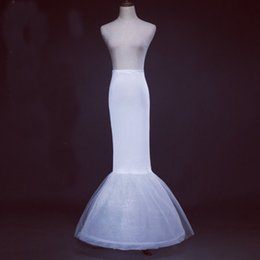 Wholesale Cheap Affordable Wedding Dresses - High Quality Cheap 1-Hoop White Mermaid Petticoats Trumpet Wedding Dress Underskirt Bridal Gowns Slip Long Affordable Petticoat
