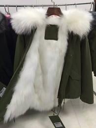 Wholesale Women Jakcet - Mr& Mrs furs short parka hooded with 100% raccoon fur lined with 100% Fox fur women's green jakcet