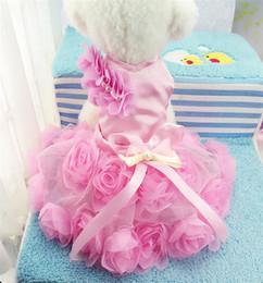 Wholesale Rose Princess Skirt - High Quality 2017 Luxury Rose Pet Dog Princess Wedding Dress Tutu Skirt Small Dog Summer Clothes Pink Purple Pet Dress XS-XXL Free Shipping