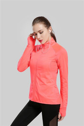 Wholesale Spandex Workout Clothes - New Sport Yoga Jacket Long Sleeve Yoga Clothes Gym Running Workout Clothes Tights Women Fitness Jersey Tops Orange Color
