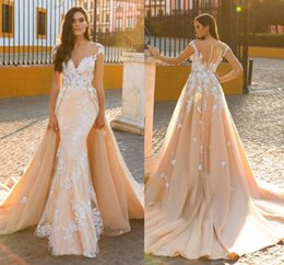 Wholesale Embroidery Pearls Mermaid Wedding Gown - Middle East 2016 Wedding Dresses Mermaid Bridal Dresses Trailing Sexy Lace Overskirts Berta Bridal Wedding Gowns Luxury Dress Detachable