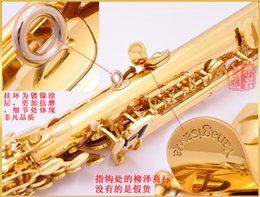 Wholesale Case Bb - wholesale Free Ship YANAGISAWA Soprano Saxophone S-991 Bb Gold Lacquer Professional Sax Mouthpiece With Case and Accessories
