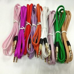 Wholesale braided fabric iphone cable - 3.5mm noodles Flat fabric braid wire 8colors Plug stereo Aux Audio Cable for IPod iphone Mp3