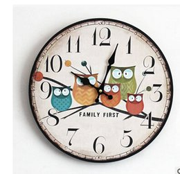 Wholesale Vintage Owl Art - Wholesale- 2016 Modern Design Owl Vintage Rustic Shabby Chic Home Office Cafe Decoration Art Large Wall Clock Free Shipping