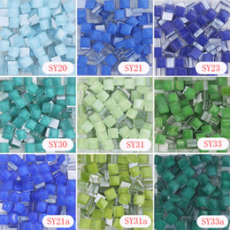 Wholesale Stone Glass Mosaic - 10 X 10mm Square Crystal Mosaic Tile, Green and blue series, DIY Mosaic Art Supplier, Home garden Glass stone glass beads