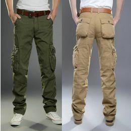 Wholesale Khaki Long Cargos - Men's Trousers Fashion Casual Cargo Pants Men Wear Cotton Spring Summer Mans Clothes Straight Long Pants Work Pant Outerwear 40 42