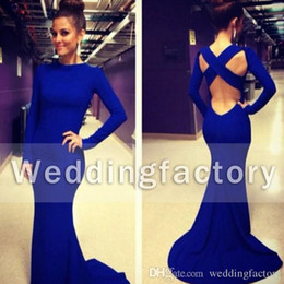 Wholesale Modern Fit Shirts - Elegant Long Sleeve Evening Dress Jewel Neck Sexy Backless Criss Cross Mermaid Fit Black Blue Red White Prom Party Gowns with Sweep Train