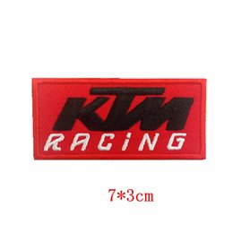 clothes repair Promo Codes - KTM Racing Orange logo Embroidered iron&sew on patch for Jacket Jeans Clothing Badge repair clothes patch