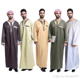 Wholesale Muslim Fashion Men - Fashion Men Saudi Style Thobe Thoub Abaya Robe Daffah Dishdasha Islamic Arab Kaftan Muslim Clothing For Men