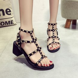 Wholesale T Strap Peep Toe - Summer high heel sandals women sexy t-tied hollow belt cover thick with cool boots rivet peep-toe shoes of Rome shining