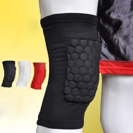 Wholesale Basketball Leg Gear - Wholesale- Honeycomb Foam Pad Crashproof Antislip Protector Guard Gear Leg Knee Brace For Team Sport Basketball Football Short Sleeve
