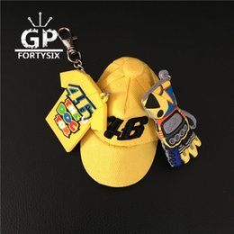 Wholesale T Shirt Models For Men - 2017 High quality MOTO GP Rossi 46 Cap Model 3D motorcycle gloves yellow T-shirt keychain key ring for VR46 fans gift