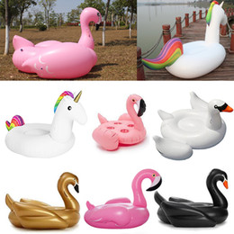 Wholesale Swan Kid - Hot Inflatable Unicorn Inflatable Flamingo Swimming Float Pool Float Swan for Adult Tube Raft Kid Swimming Ring Summer Water DHL SF UPS Free