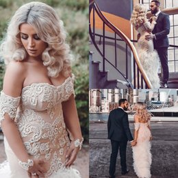 strapless feathers wedding gowns Promo Codes - Plus Size Mermaid Wedding Dresses Lace Bo Ho Strapless Wedding Gowns Vintage Feather Sexy Back Bridal Dress Fall