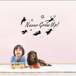 Wholesale Art Bell - Never Grow Up Quotes Wall Sticker Tinker Bell Wall Decals Fairy Home Decor for Kids Room Bedroom Decoration