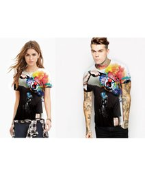 Wholesale Gun Sleeves - Couple clothes Clown Leisure time Fashion Gun Commit Suicide Funny Short sleeve T-shirts Black Digital Printing All-match MEN AND WOMEN