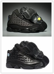 Wholesale Waterproof Shoes Winter Men - Wholesale with box 13 XIII Black Cat All Black Star 13s MEN basketball shoes sports sneakers trainers High quality Discount size 8-13
