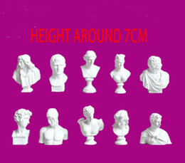 Wholesale statue home decor - 10pcs Set European famous small bust statue figure resin character Mini gypsum david head statue Art sketch teaching home decor