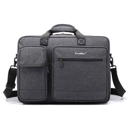Wholesale Briefcase Nylon - Briefcases Men Business Laptop Bag 15.6 and 17.6 inch Optional Laptop Briefcase Protective Messenger Nylon Shoulder Bag Gray
