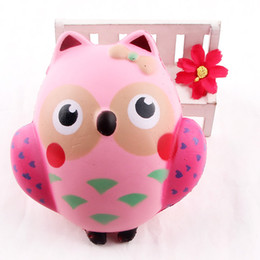 Wholesale Broken Phones - Wholesale 12CM Cute Squishy Kawaii Pink Owl PU Soft Slow Rising Phone Strap Squeeze Break Kids Toy Relieve Anxiety Fun Gift