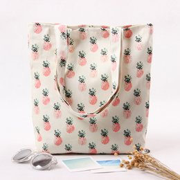 Wholesale Canvas Leisure Handbags - Ladies Casual Totes Pink Pineapple Prints Canvas Bags Leisure Shoulder Bags Handbag Student Handbags Wholesale 2017 Hot