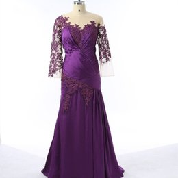 Wholesale Dresses For Fat Women - 2017 Purple Plus Size Mother Of The Bride Dresses Sheath Long Sleeve Applique Lace Elegant Evening Party Gown For Fat Women Real Photo