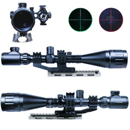 Wholesale Double Ring Rifle - 6-24x50 Hunting Rifle Scope Mil-dot illuminated Snipe Scope&Red Laser Sight Double ring mount