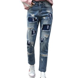 Wholesale New Design For Cotton Pants - Fashion Autumn New Design Pig Pattern BF Style Korean Version Jeans High Waisted Relax Hole Casual Pants for Women Ladies