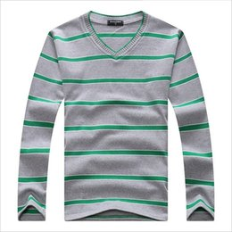 Wholesale Cheap Knit Sweaters - Wholesale- Cheap Mens Sweater Fashion Famous Brand V-Neck Pullovers Wholesale Stripes Cotton Daily Casual Plus Size Winter Sweater Men