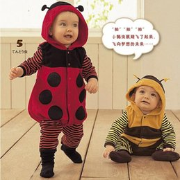 Wholesale Infant Baby Girl Outwear - INS Baby kid long sleeve autumn spring cute cartoon ladybug and bee romper outwear boy and girl infant romper clothing