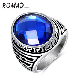 Wholesale 316 L Rings - Hot Selling New Arrival Western Style Jewelry Wholesale Stainless Steel Punk Wind Blue LOVE Acrylic 316 L Titanium Ring Exclusive Gift