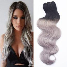 Wholesale Brazilian Hair Bundles Grey - New 3 Pcs 7A Human Virgin hair Ombre Brazilian Body Wave Grey Hair Weave Platinum Silver Gray Ombre Hair Extensions 3 Bundles