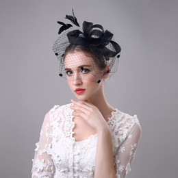 Wholesale Vintage Lace Headdress - Bridal bouquets wedding hat vintage Linen hat yarn bow headdress headband bridal headpieces weding or party accessories
