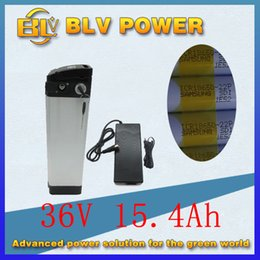 Wholesale 36v lithium battery - ebike electric bicycle battery 36v 15ah lithium battery electric bike for inner sam-sung 22P cell BMS silver fish case send 2a Charger
