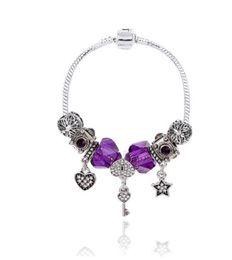 Wholesale Pandora Style Murano Beads - Wholesale 925 Sterling Silver Murano Lampwork Glass & Purple Crystal European Charm Beads Heart Fits Pandora Charm bracelets Style Bracelets