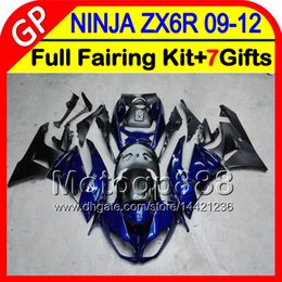 Wholesale Zx6r 11 - blue black 7gifts For KAWASAKI NINJA ZX 6 R ZX636 09-12 ZX6R 09 10 11 12 5GP35 gloss blue ZX 636 ZX-6R ZX 6R 2009 2010 2011 2012 Fairing