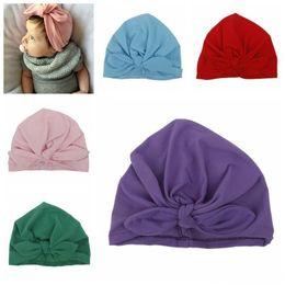 Wholesale Kids Fedora Ears - newborn baby girl hats cartoon cap kid Fashion Knotted Rabbit Ear Soft Comfortable Cotton fedora Hats Beanies Indian Bohemia Caps infant hat