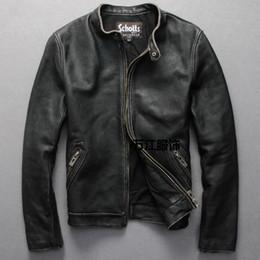 herren braunes lederjacke revers Rabatt Schotts Vintage Man Motorrad Lederjacke Rindsleder echtes Leder Herren Slim kurze Mäntel stehen Kragen plus 6XL