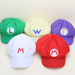 Wholesale Wholesale Red Mario Hats - 2017 New Fashion Super Mario Bros Adult Size Cosplay Baseball Cap Green & Red Women Men Fitted Hats Snapback Cartoon