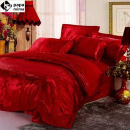 Wholesale Luxurious Jacquard - Wholesale-luxurious red bedding set 4pc wedding satin duvet quilt cover king queen size comforters bedlinen bedsheets silk cotton bedcover